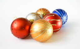 Christmas baubles. On white background Royalty Free Stock Photo