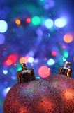 Christmas Baubles. Against sparkling background stock photos