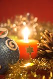 Christmas baubles. Christmas decoration with baubles and candle close up Stock Image