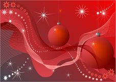 Christmas baubles. On red background royalty free illustration