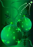 Christmas baubles. On green background stock illustration