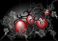 Christmas baubles. On black background vector illustration