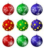 Christmas baubles. Vector isolated christmas baubles with snowflakes and stars Stock Photo