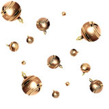 Christmas baubles. Lots of Gold Christmas baubles freefalling Stock Photography
