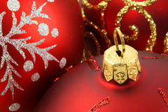 Christmas baubles. Christmas decoration baubles with glitters making colorful background Royalty Free Stock Photography