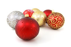 Christmas baubles. Seven various glass christmas baubles on pure white background Stock Images