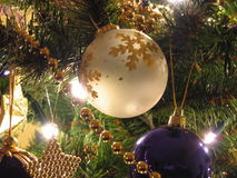 Christmas Baubles. Baubles and other decorations on Christmas tree Royalty Free Stock Photography