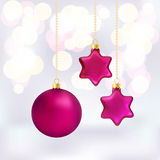 Christmas baubles on abstract background Royalty Free Stock Photo