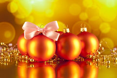 Christmas baubles on abstract background Stock Photos