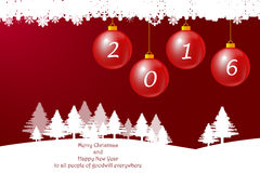 Christmas baubles ann Happy New Year. Winter landscape with trees in the horizon and Christmas baubles with number 2016 on the red gradient background Royalty Free Stock Image