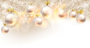 Christmas Baubles Background. Christmas background bauble design element in white and gold Stock Photo