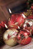 Christmas baubles on background of defocused  lights Stock Photos