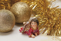 Christmas baubles on background of defocused  lights Royalty Free Stock Images