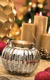 Christmas baubles on background of defocused  lights Royalty Free Stock Photography