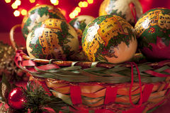 Christmas Baubles in a Basket Royalty Free Stock Image