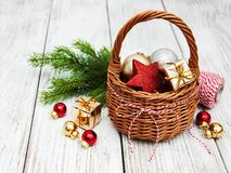 Christmas baubles in basket Stock Photography