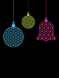 Christmas baubles on black royalty free stock photos