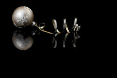 Christmas baubles on black background Stock Images
