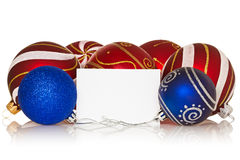 Christmas baubles with blank card Stock Image