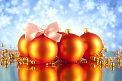 Christmas baubles on blue background Stock Photo
