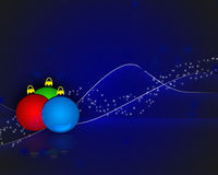 Christmas baubles on a blue background. Red, green, blue balls x-mas Royalty Free Stock Photo