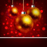 Christmas baubles with bokeh background. EPS 8 royalty free illustration