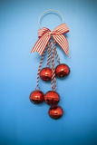 Christmas baubles and bow Royalty Free Stock Photography