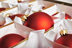 Christmas baubles in box Royalty Free Stock Photo