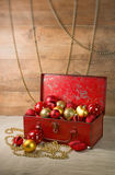 Christmas baubles in a box Royalty Free Stock Image