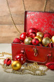 Christmas baubles in a box Royalty Free Stock Photo