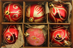 Christmas baubles in a box Stock Image