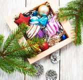 Christmas baubles  in the box Royalty Free Stock Photography