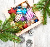 Christmas baubles  in the box Royalty Free Stock Photos