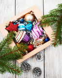 Christmas baubles  in the box Stock Image