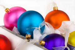 Christmas baubles boxed and unboxed. Put away and get them out royalty free stock image