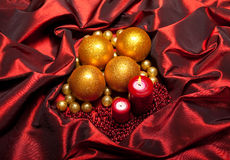 Christmas - baubles and candles Stock Photography