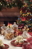 Christmas baubles, candles and other on background of defocused Royalty Free Stock Image