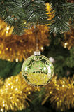 Christmas baubles, candles and other on background of defocused Royalty Free Stock Photo
