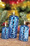 Christmas baubles, candles and other on background of defocused Royalty Free Stock Photography