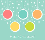 Christmas baubles card Stock Photos