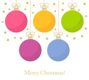Christmas baubles card. Christmas baubles background. Vector illustration Royalty Free Stock Photos