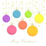 Christmas baubles card Royalty Free Stock Images