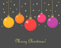 Christmas baubles card. Vector illustration Stock Photo