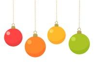 Christmas baubles card Stock Photos