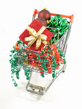Christmas baubles in a cart Stock Photo