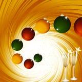 Christmas baubles and champagne on golden vortex. Golden Festive Vortex Background with Christmas Baubles and Champagne Glasses with Stars Stock Photos