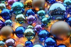 Christmas baubles. On christmas market in Wroclaw, Poland Royalty Free Stock Photography