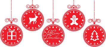 Christmas baubles with christmas icons Stock Photography