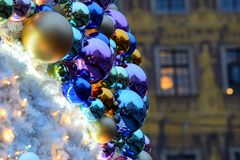Christmas baubles. On christmas market in Wroclaw, Poland Stock Photos
