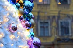 Christmas baubles. On christmas market in Wroclaw, Poland Royalty Free Stock Photos